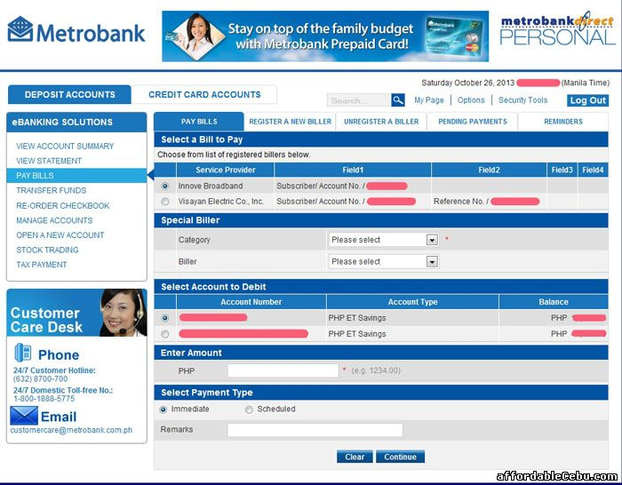 Pay Bill Metrobank Online Banking