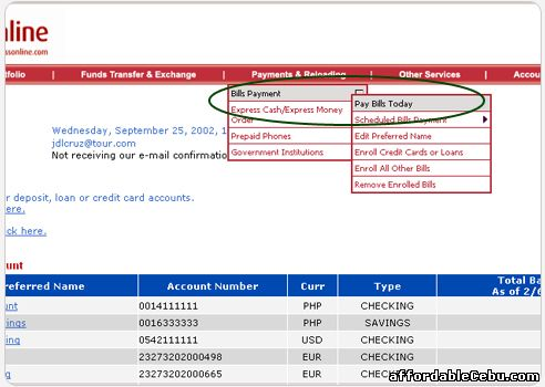 Pay VECO bill through BPI online banking