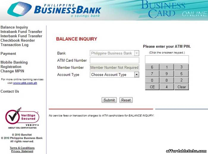 Philippine Business Bank ATM Card Balance Inquiry Online