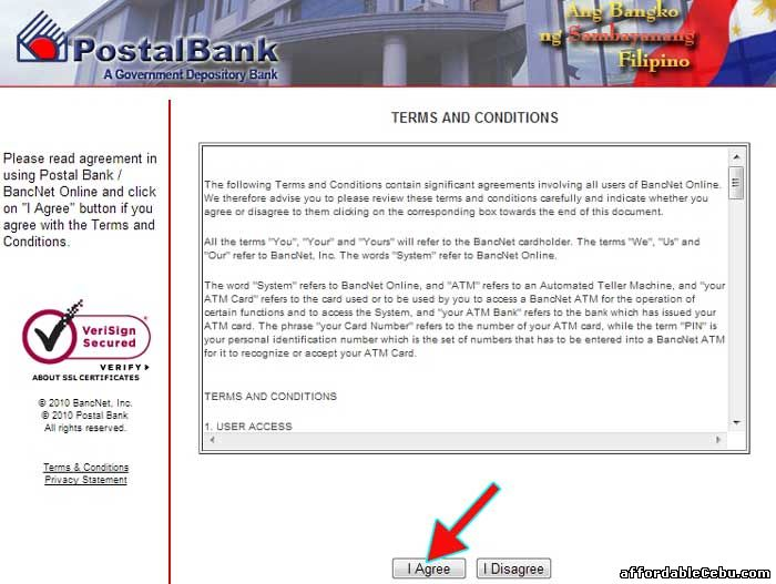 PostalBank Online Terms and Conditions with Bancnet
