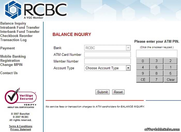 RCBC ATM Balance Inquiry Online