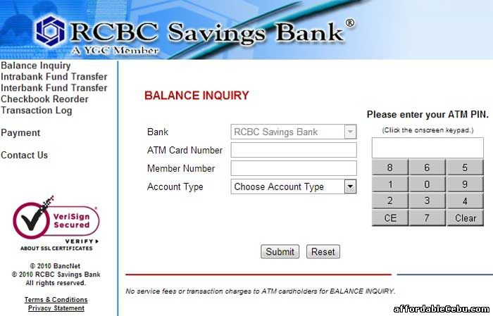 RCBC Savings Bank ATM Balance Inquiry Online