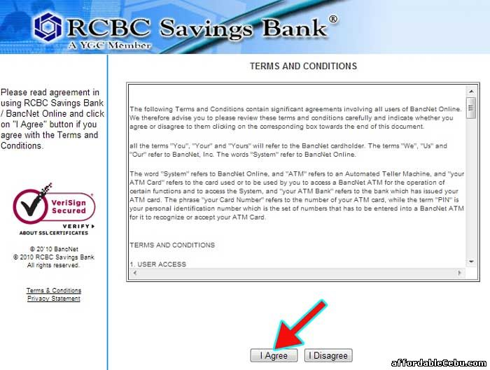 RCBCSavings Bank Online Terms and Conditions with Bancnet