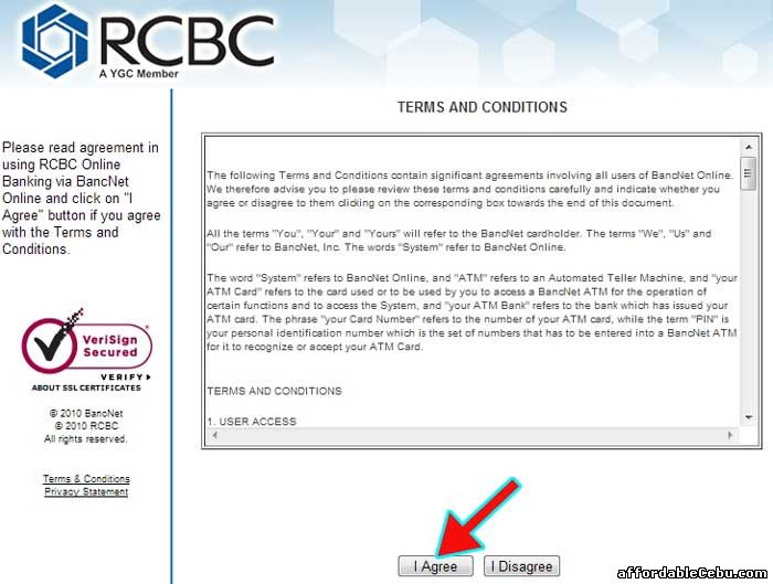 RCBC Bank Online Terms and Conditions with Bancnet