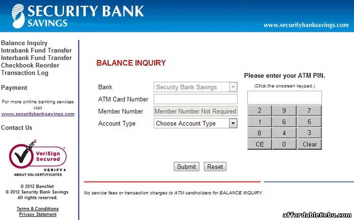 Security Bank Savings Atm Card Balance Inquiry Online