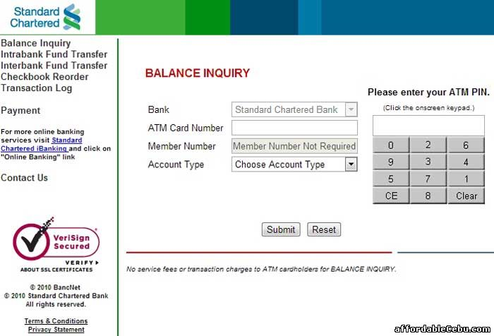 Standard Chartered Bank ATM Balance Inquiry Online