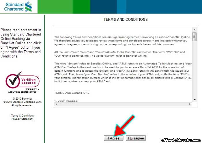 Standard Chartered Bank Online Banking Terms and Conditions with Bancnet