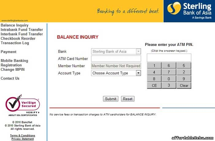 Sterling Bank of Asia ATM Balance Inquiry Online