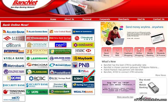 Bancnet website with Sterling Bank of Asia