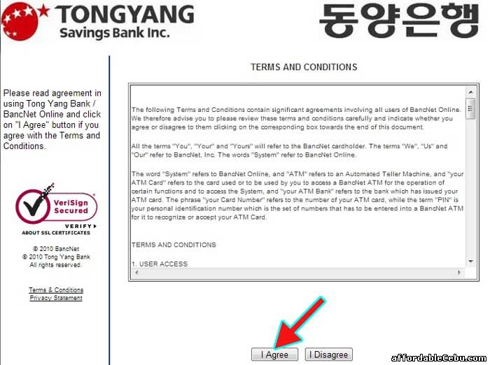 Tongyang Savings Bank Online Banking Terms and Conditions with Bancnet