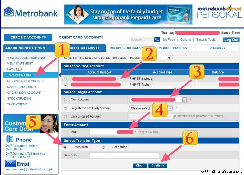 Transfer Funds Metrobank 1