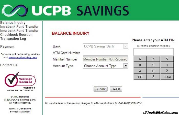UCPB Savings Bank ATM Balance Inquiry Online
