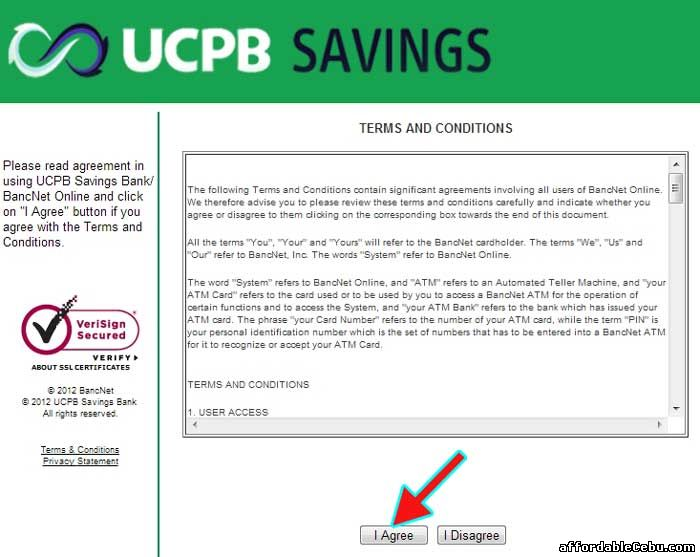 UCPB Savings Bank Online Banking Terms and Conditions with Bancnet