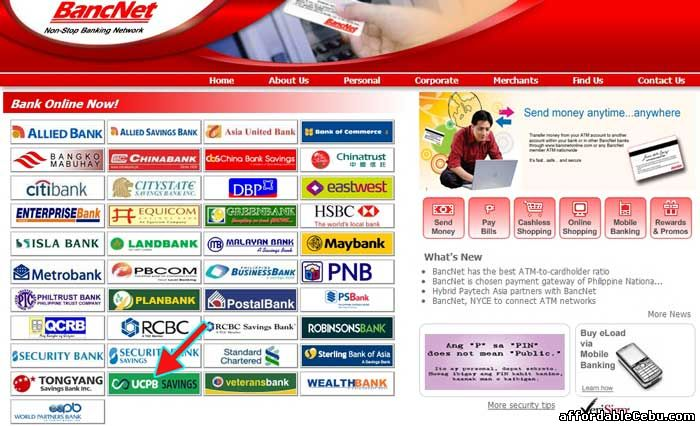 Bancnet website with UCPB Savings Bank