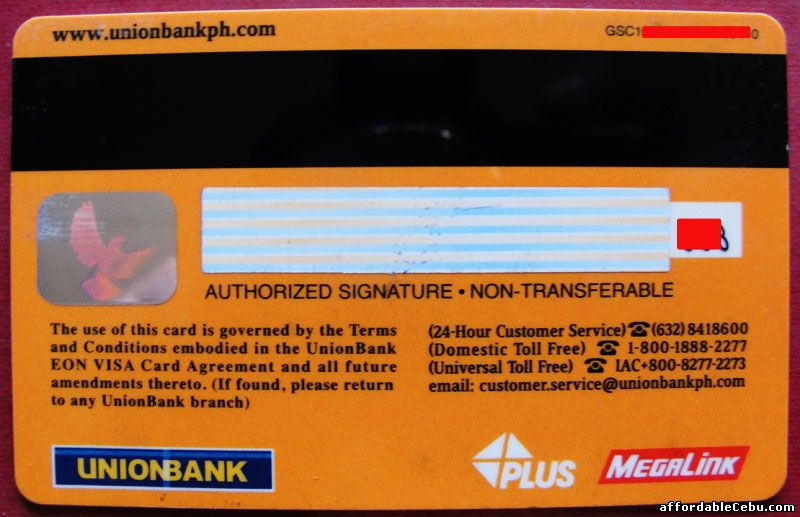 Unionbank EON Card - back view