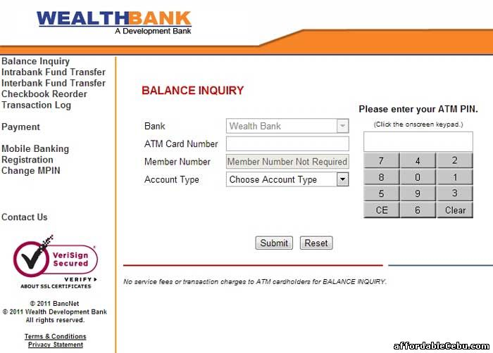 Wealthbank ATM Balance Inquiry Online