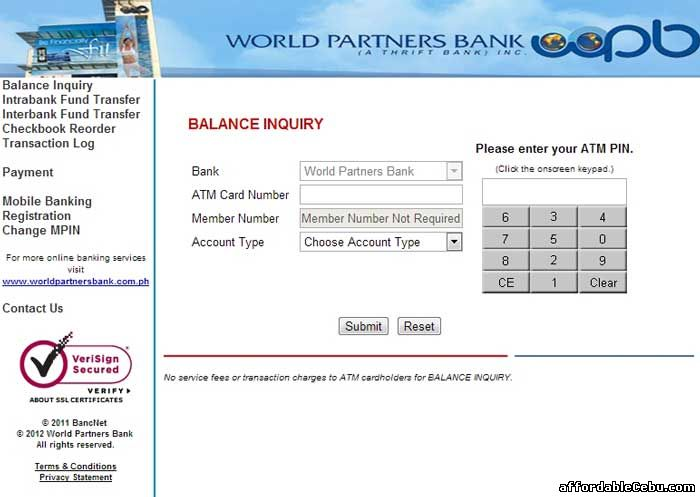 World Partners Bank ATM Balance Inquiry Online