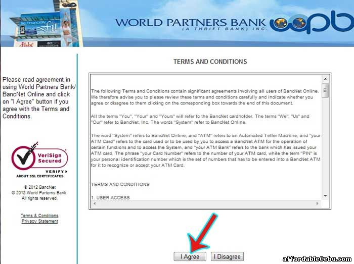 World Partners Bank Online Banking Terms and Conditions with Bancnet