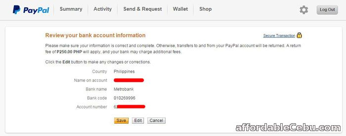Review linking of Metrobank account to Paypal account