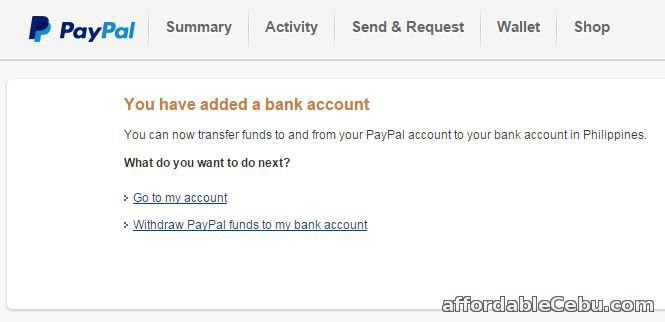 Add Metrobank account to Paypal account