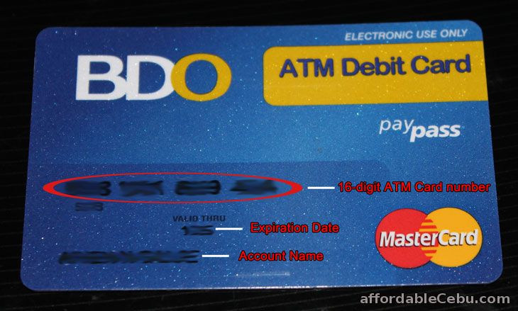 BDO ATM Card Number