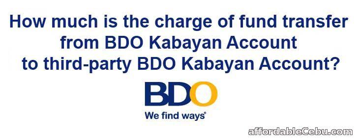 BDO Kabayan Account Fund Transfer Charge