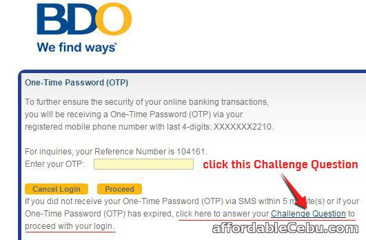 BDO OTP One Time Password