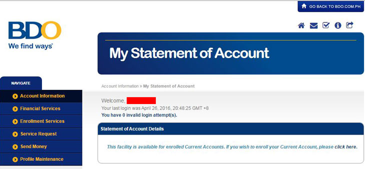 BDO Statement of Account online