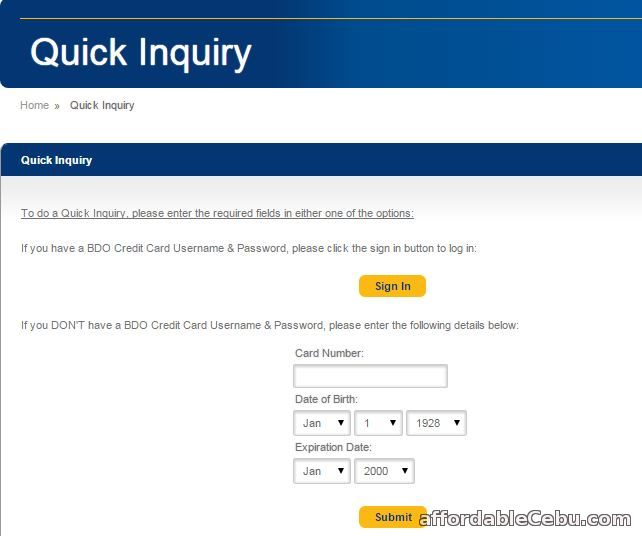 BDO Quick Inquiry Balance