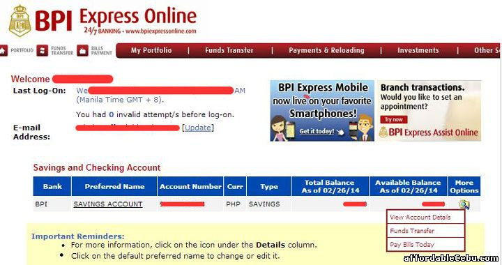 BPI statement of account