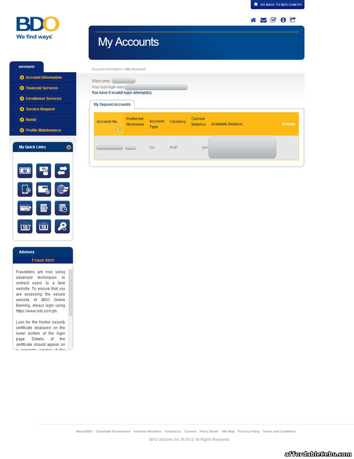 BDO online banking website