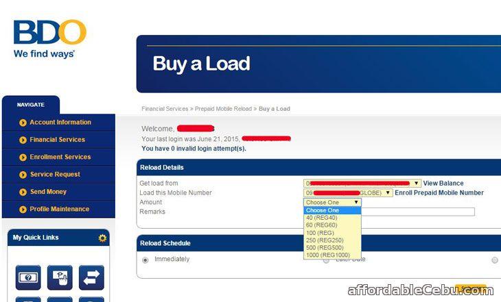 Buy load BDO online banking
