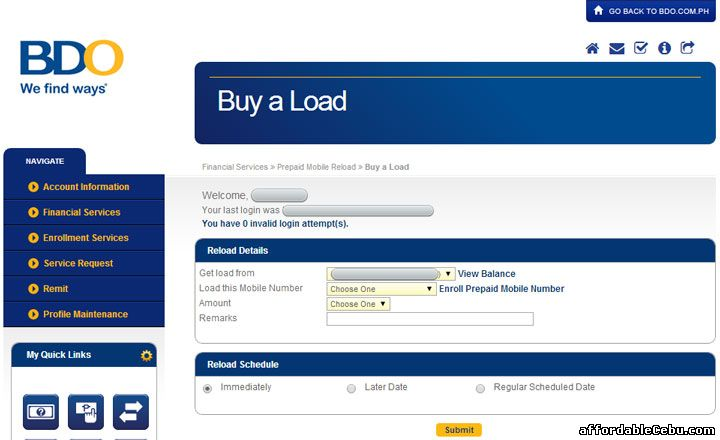 Buy Load in BDO online banking