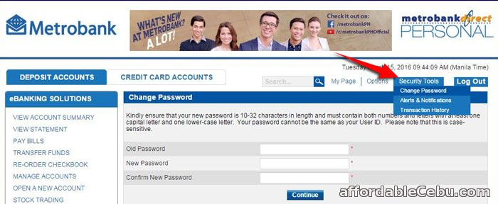 Change MetrobankDirect Password