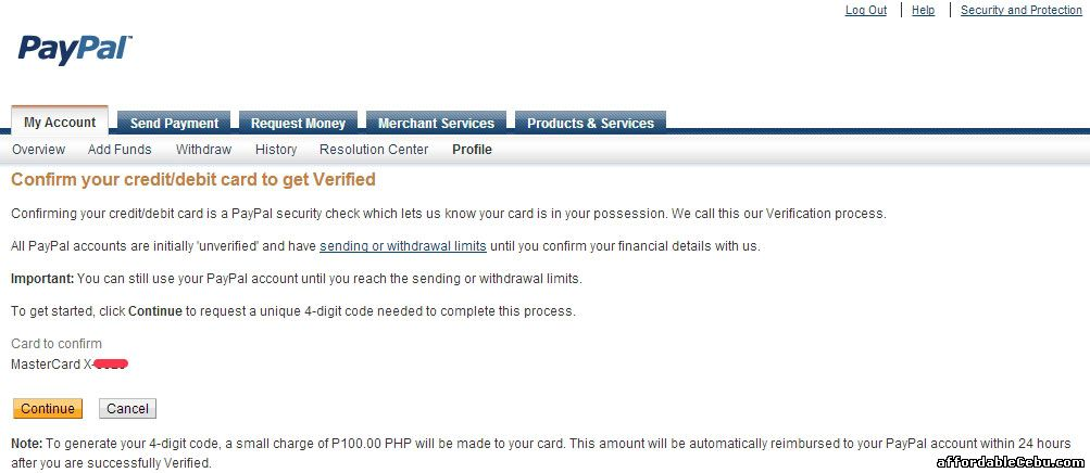 Confirm Metrobank ATM Account to Paypal Account