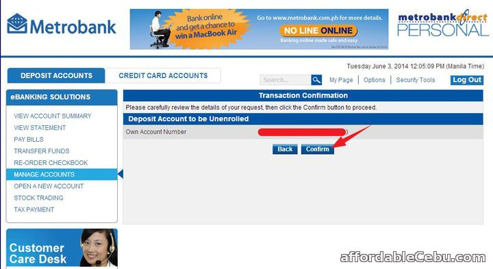Confirm Unenroll of Metrobank Account Online