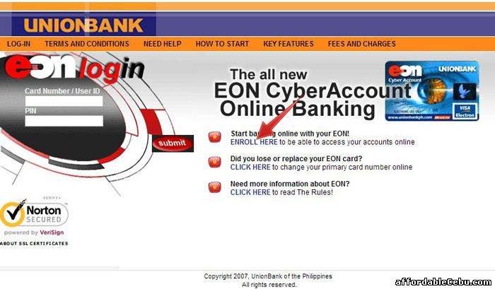 EON Log-in Page