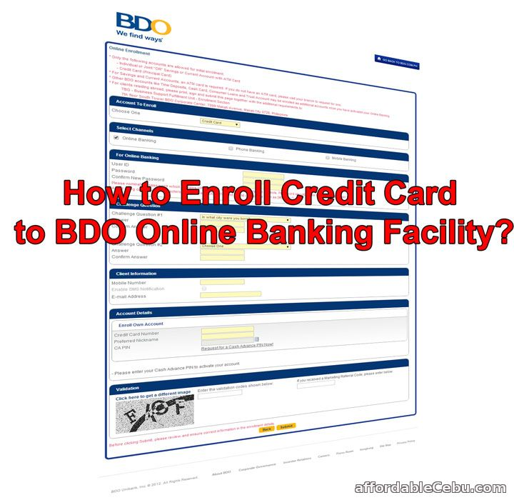 Enroll BDO Credit Card to Online Banking