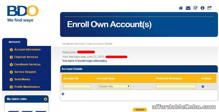 Enroll New BDO Account Online