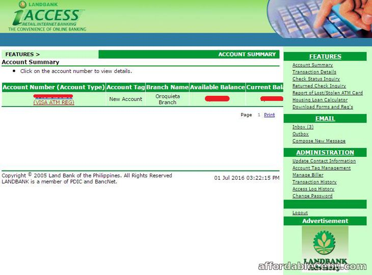 LandBank iAccess Internet Banking Account Summary