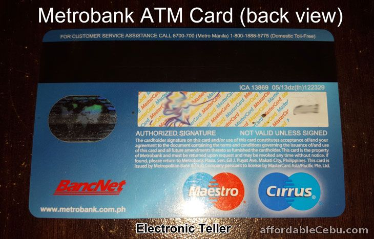 Metrobank ATM Card (back view)