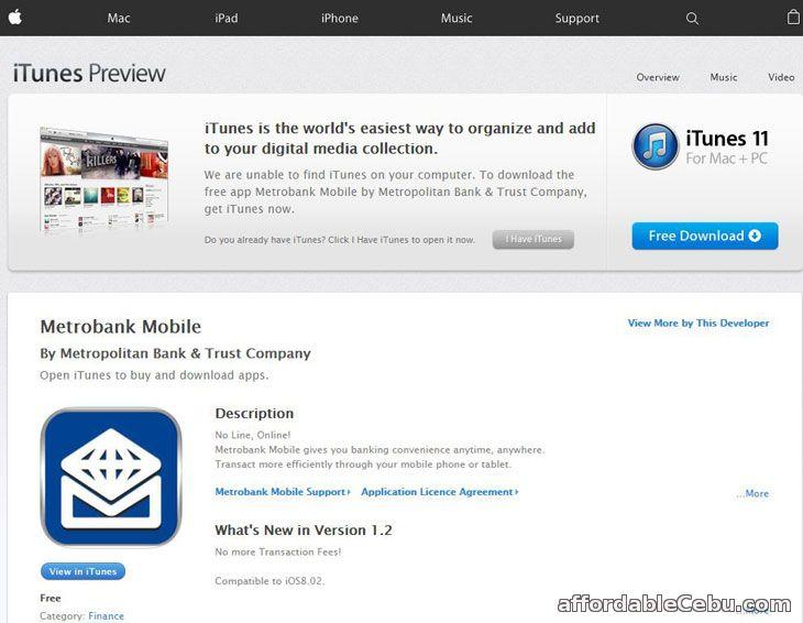 Metrobank Mobile Banking iTunes