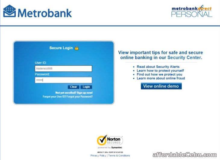 Metrobank Online Banking (MetrobankDirect) Log-in Page