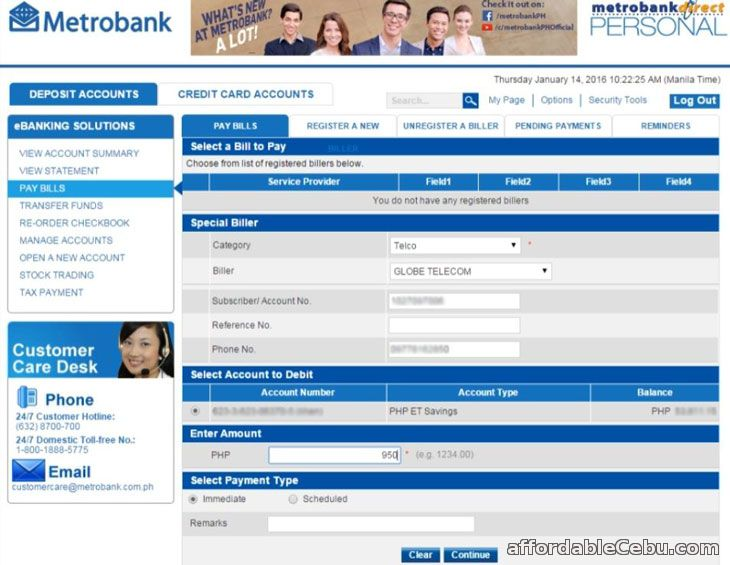 Pay Globe Bill via Metrobank Online Banking