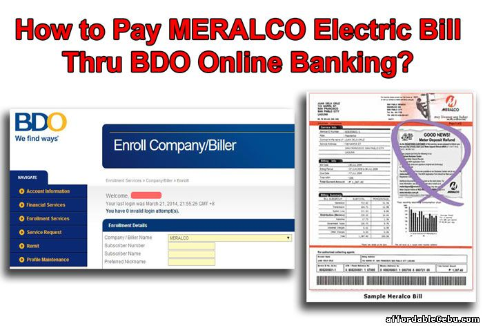 Pay MERALCO Electric Bill Thru BDO Online Banking