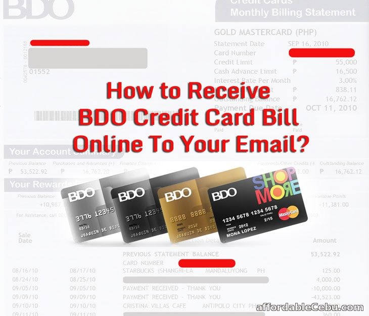 Receive BDO Credit Card Bill to Email