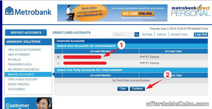 Select Metrobank Account to Unenroll-Remove