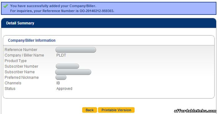 Successful enrollment of PLDT bill to BDO online banking