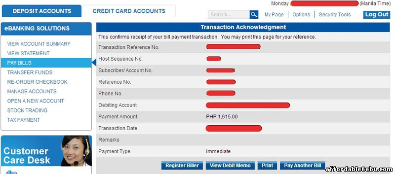 Transaction Acknowledgment PLDT Bill Metrobank Online Banking