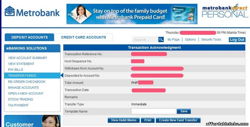 Transfer of Funds Metrobank 3